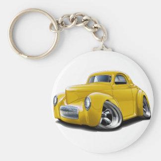 1941 Willys Yellow Car Basic Round Button Keychain