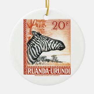 1942 Ruanda Urundi Zebra Postage Stamp Ceramic Ornament