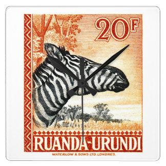 1942 Ruanda Urundi Zebra Postage Stamp Clock