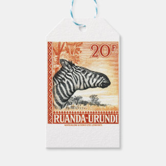 1942 Ruanda Urundi Zebra Postage Stamp Gift Tags