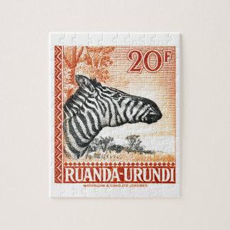 1942 Ruanda Urundi Zebra Postage Stamp Jigsaw Puzzle