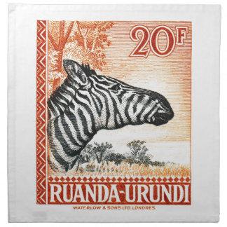1942 Ruanda Urundi Zebra Postage Stamp Napkin