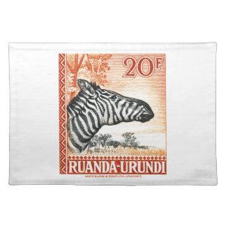 1942 Ruanda Urundi Zebra Postage Stamp Placemat