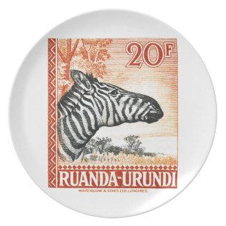 1942 Ruanda Urundi Zebra Postage Stamp Plate