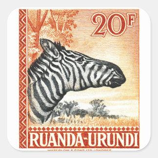 1942 Ruanda Urundi Zebra Postage Stamp Square Sticker