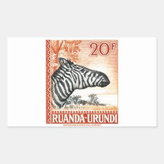 1942 Ruanda Urundi Zebra Postage Stamp Sticker