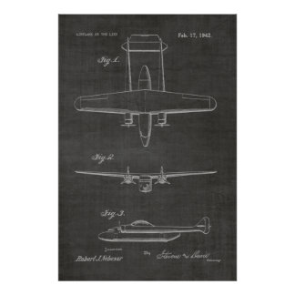 1942 Twin Airplane Patent Art Drawing Print