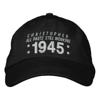1945 or Any Year 70th Birthday A5 BLACK and WHITE Embroidered Hat