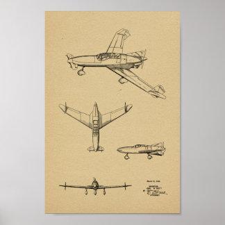 1946 Rear Prop Airplane Patent Art Drawing Print