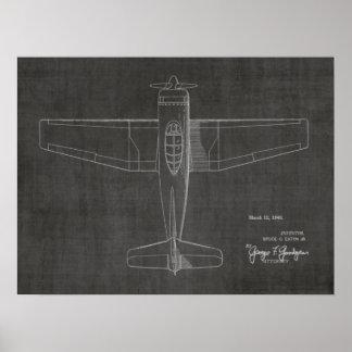 1946 Vintage Airplane Patent Art Drawing Print