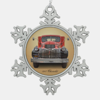 1947 CHEVROLET STAKE TRUCK PEWTER SNOWFLAKE ORNAMENT