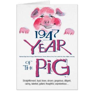 1947 Fun Facts Pig Funny Birthday Card