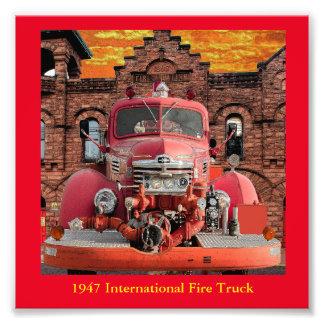 1947 International Fire Truck Design Art Photo