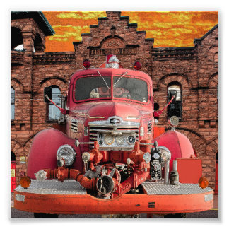1947 International Fire Truck Design Photo Print