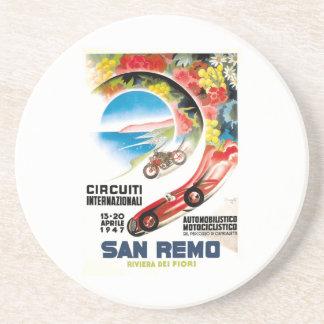 1947 San Remo Grand Prix Race Poster Coasters