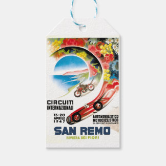 1947 San Remo Grand Prix Race Poster Pack Of Gift Tags