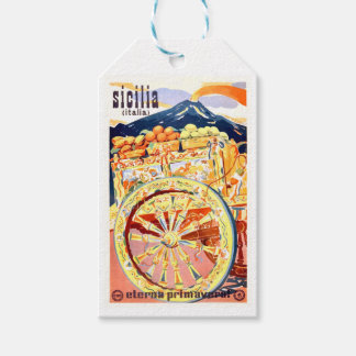 1947 Sicily Italy Travel Poster Eternal Spring Gift Tags
