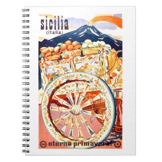 1947 Sicily Italy Travel Poster Eternal Spring Notebooks