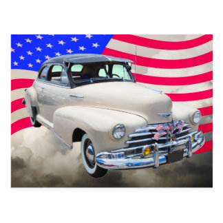 1948 Chevrolet Fleetmaster And American Flag Postcard