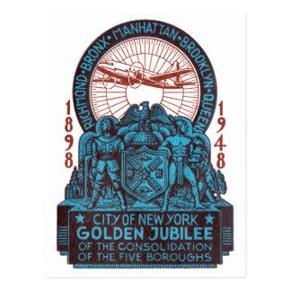 1948 New York Golden Jubilee Postcard