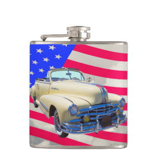 1948 Pontiac Silver Streak And United States Flag Flask