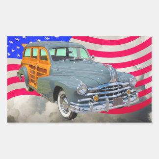 1948 Pontiac Silver Streak Woody And US Flag Sticker