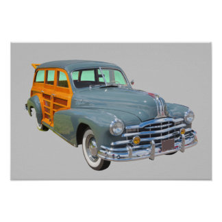 1948 Pontiac Silver Streak Woody Antique Car Poster