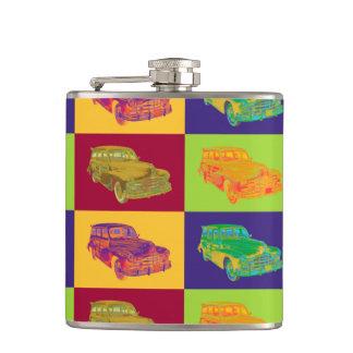 1948 Pontiac Silver Streak Woody Pop Art Hip Flask