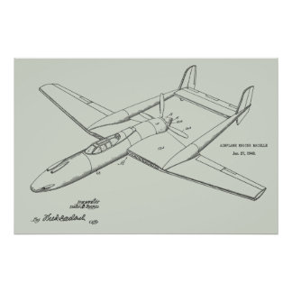 1948 Pusher Airplane Patent Art Drawing Print