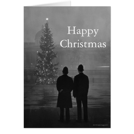 1948: Two policemen regard Christmas Tree Card
