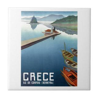 1949 Corfu Greece Travel Poster Tile