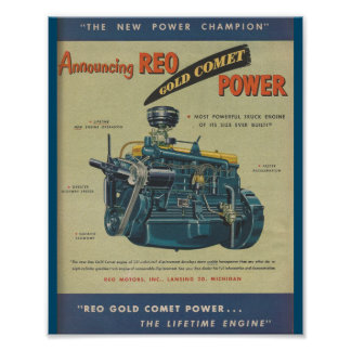 1949 REO Gold Comet Truck Engine MOTOR Ad Poster