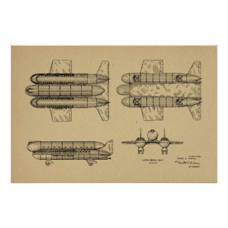 1950 Airship Airplane Patent Art Drawing Print