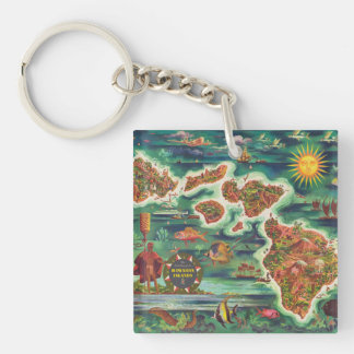 1950 Dole Map of Hawaii Joseph Feher Oil Paint Double-Sided Square Acrylic Keychain
