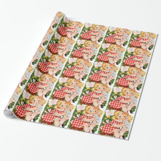 1950 Girl With Doll Wrapping Paper