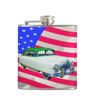 1950 Nash Ambassador Car And American Flag Hip Flask