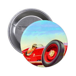 1950 red racing car 2 inch round button