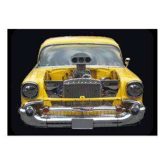 1950 s Classic yellow auto with hood blower motor Business Card Templates