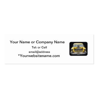 1950 s Classic yellow auto with hood blower motor Business Card