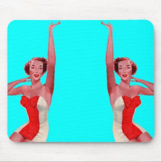 1950 waving bathing beauty mouse pad