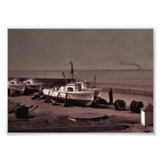 1950s B & W, Photo Print, Ships in Dry Dock