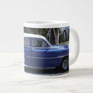 1950's car blue large coffee mug
