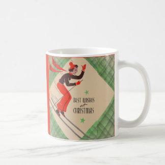 1950s Christmas skier Coffee Mug