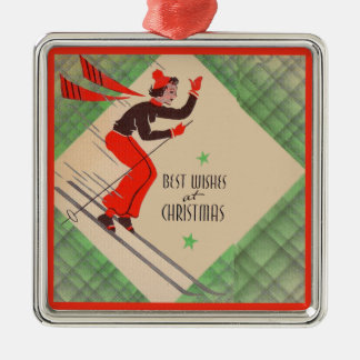 1950s Christmas skier Metal Ornament