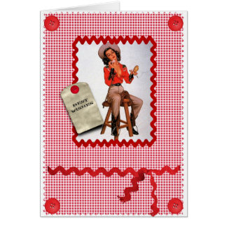 1950s cowgirl pin up greetings card