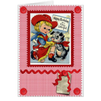 1950'S CUTE COWGIRL BIRTHDAY CARD