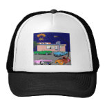 1950s Diner Route 66 and Vintage Cars Mesh Hats