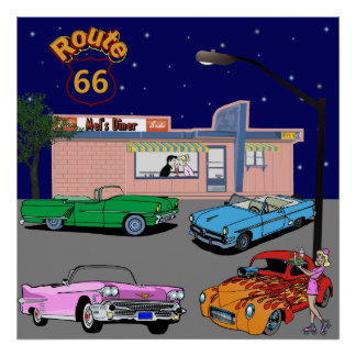 1950s Diner Route 66 and Vintage Cars Poster