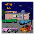 1950s Diner Route 66 and Vintage Cars Print