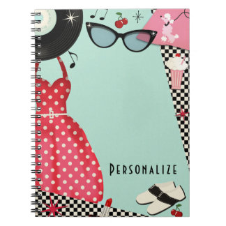 1950's Fifties Dress Up Retro Vintage Girls Fun Notebooks